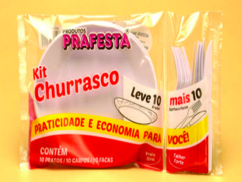 KIT CHURRASCO(10 UN PRATO/GARFO/FACA) PRAFESTA CX-10 KITS