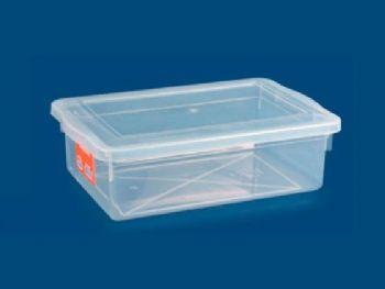 CAIXA PLAST 33cmx22cmx10cm C/TP FECH TRANSP 5L PLEION 0320