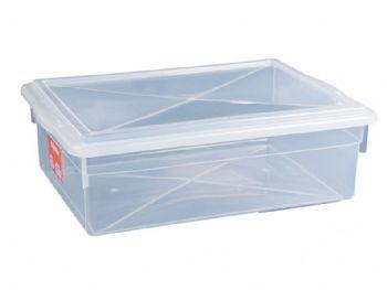 CAIXA PLAST 41x29x13 C/TP FECH TRANSP 11L PLEION 0330