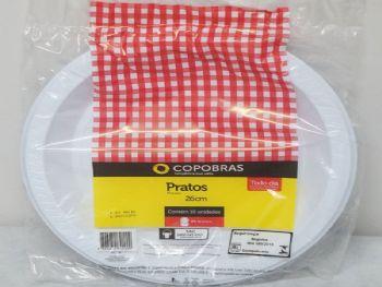 PRATO PLAST 26 CM BRANCO COPOBRAS PR026 PT-10 CX-250