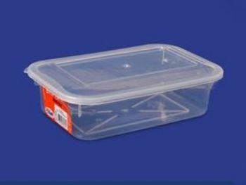 CAIXA PLAST 23,5cmx15cmx6,8cm C/TP FECH TRANSP 1,3L PLEION 0318