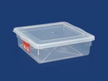 CAIXA PLAST 28cmx28cmx09cm C/TP FECH TRANSP 4,5L PLEION 0425
