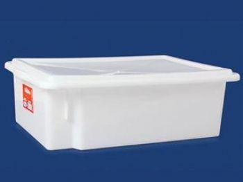 CAIXA PLAST 41cmx29cmx13cm BRANCA FECHADA 10L C/TAMPA PLEION 0430