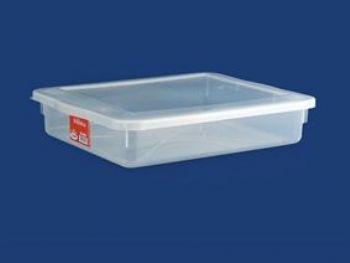 CAIXA PLAST 42,5cmx34,5cmx8,7cm C/TP FECH TRANSP 9L PLEION 0508