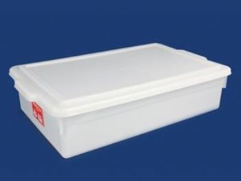CAIXA PLAST 54cmx35cmx13cm BRANCO FECHADA 16,5L C/TAMPA PLEION 0630