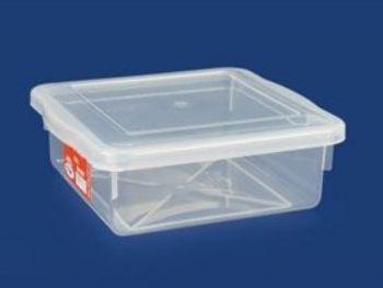 CAIXA PLAST 23cmx23cmx8cm C/TP FECH TRANSP 2,5L PLEION 0707