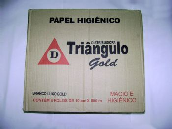 PAPEL HIG ROLAO BRANCO 300 MT GOLD TRIANGULO CX-8