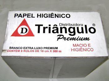 PAPEL HIG ROLAO 300 M BRANCO PREMIUM TRIANGULO CX-8